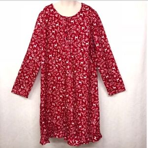 NWOT Lands End Kids Girls Sz 12 Red Night Gown